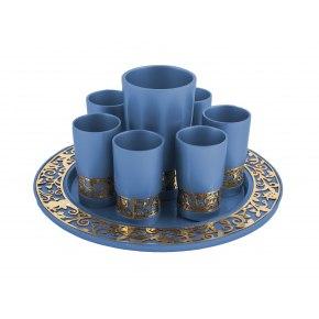 Emanuel Judaica Blue Kiddush Cup Set Pomegranates