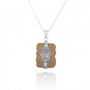 Jerusalem Stone Necklace with Sterling Silver Hamsa