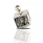 Sterling Silver Cubic Dreidel with Menorah