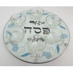 Lily Art Hand-Painted Seder Plate Light Blue Pomegranate Design