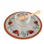 Lily Art Glass Honey Bowl On Circle Tray With Stylized Pomegranates