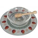 Lily Art Glass Honey Bowl On Circle Tray With Mandala And Red Pomegranates
