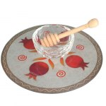 Lily Art Glass Honey Bowl On Circle Tray With Red Pomegranates