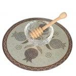 Lily Art Glass Honey Bowl On Circle Tray With Gray Pomegranates