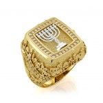 14K Gold and Diamonds Jerusalem Menorah Jewish Ring