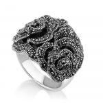 Marina Jewelry Ring With Sterling Silver Marcasite Rose Filigree Over Eilat Stone