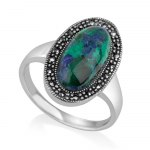 Marina Jewelry Oval Eilat Stone Ring With Sterling Silver Marcasite Frame