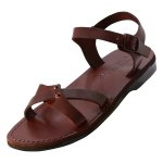 Fashionable Front X Straps Handmade Leather Sandals - Ilanit