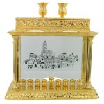 Gold Hanukkah Menorah with Jerusalem and Shabbat Candlesticks