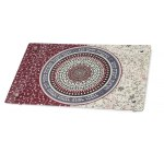 Dorit Judaica Maroon And White Flower Mandala Shabbat Verses Glass Challah Board