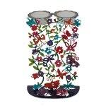 Yair Emanuel Laser Cut Candlesticks with Hand Painted Butterflies