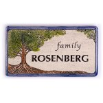 Personalized Handmade Ceramic English Door Sign Tree of Life Design