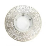 Yair Emanuel Pomegranate Silver Colored Metal Cutout And Glass Honey Dish