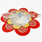Dorit Judaica Red And Yellow Flower Base With Glass Honey Dish