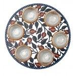 Pomegranates Glass Seder Plate by Dorit Judaica