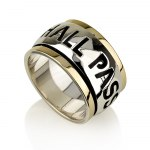 Gold and Silver Jewish Ring with This too Shall Pass in English