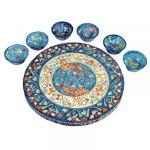 Yair Emanuel Wood Seder Plate with Matching Bowls Peacocks