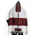 Wool Tallit Prayer Shawl with Bordeaux Stars of David
