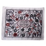 Dorit Judaical Challah Cover with Red and Black Flowers