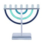Emanuel Judaica Blue Seven Branched Menorah