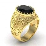 14K Gold Jerusalem Ring with Black Onyx