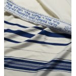 Talitania Wool Tallit Prayer Shawl with Blue and Silver Stripes