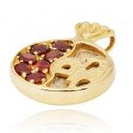 14K Gold Garnets and Jerusalem Stone Pomegranate Pendant