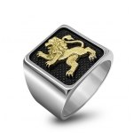 Silver and Yellow Gold Jerusalem Lion Ring