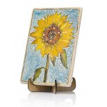 Handmade Ceramic Plaque with Sunflower by Art in Clay