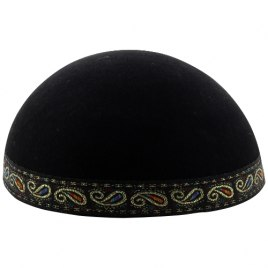 Black Yemenite Kippah with Trim