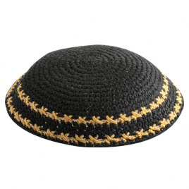 Black Knit Kippah with Yellow Stripe