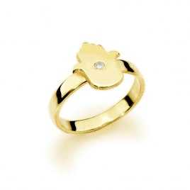 14 Gold Custom Hamsa Hebrew Name Ring with Diamond