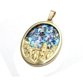 14k Gold and Roman Glass Jerusalem Necklace