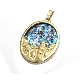 14k Gold and Roman Glass Jerusalem Necklace
