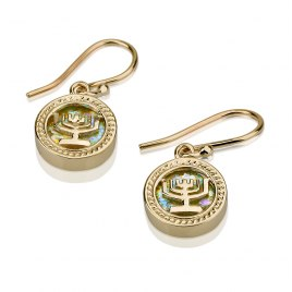 14K Gold and Roman Glass, Menorah Earrings