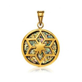 14K Gold and Roman Glass Round Star of David Necklace
