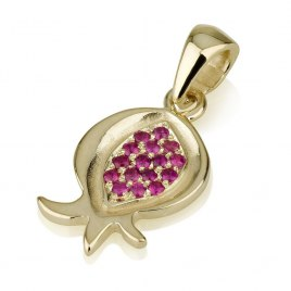 14k Gold Pomegranate Pendant With Rubies