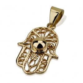 14K Gold Filigree and Center Dome, Hamsa Jewelry