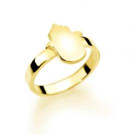 14K Gold Hebrew Hamsa Name Ring
