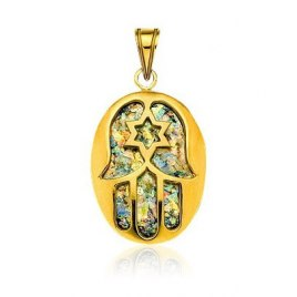14K Gold Roman Glass Oval Hamsa Star of David Pendant