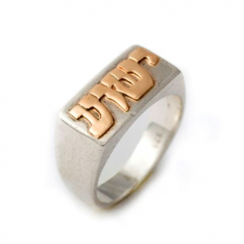 14k Gold & Silver Hebrew Name Ring