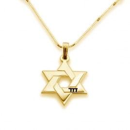 14K Gold Star of David Hebrew Name Necklace