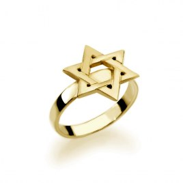 14K Gold Star of David Hebrew Name Ring