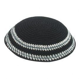 Black with White Stripes Knit Kippah