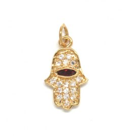 Marina Jewelry Gold Plated Garnet Eyed Hamsa Pendant