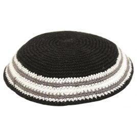 Blue Knit Kippah with Brown Stripes