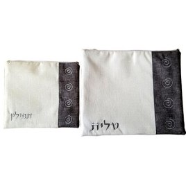 Lily Art Black And White Spiral Tallit And Tefillin Bag Set