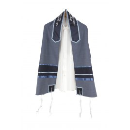 Lightweight Tallit with a Vague Blue Base