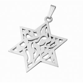 Silver Star of David Pendant with Shema Yisrael Engraved