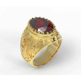 14K Gold Jerusalem Ring with Garnet Stone